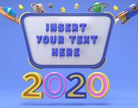Cartoon Message Board 3D model