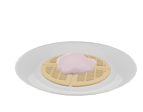 Waffle with ice cream 3D model