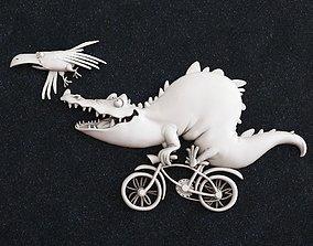 3D printable model Crocodile on a bicycle