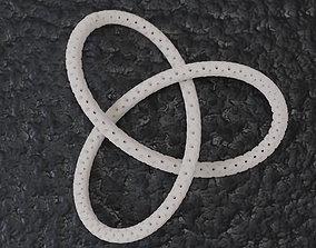 Perforated Trefoil Pendant mathematical 3D printable model