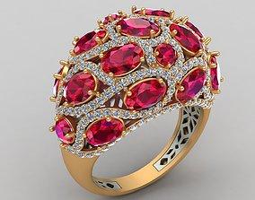 Butani Ruby Diamond Gold Ring 3D print model