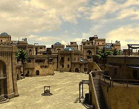 3D Desert oasis whole scene