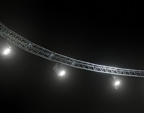 Circle truss with lights 3D model game-ready