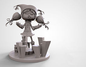 Cute Crazy Cartoon Girl 3D print High detailed