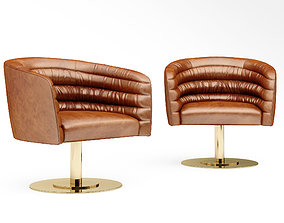CB2 CUPA SADDLE LEATHER SWIVEL BASE CHAIR 3D
