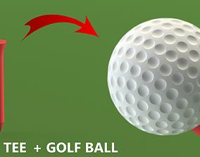 Golf Ball and golf tee ball 3D printable model