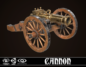 Cannon 3D asset low-poly PBR