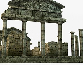 3D Low poly ancient temple ruins