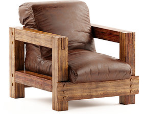 Mid-Century Wooden Lounge Chairs 3D model