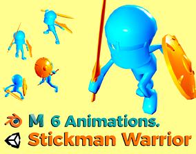 Stickman Warrior - Tiny - 6 Animations 3D model