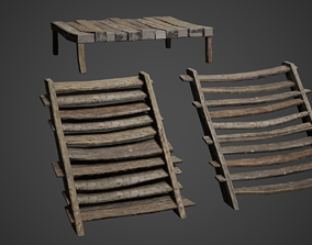 Medieval Wooden Bed and Stairs Game Ready 3D model