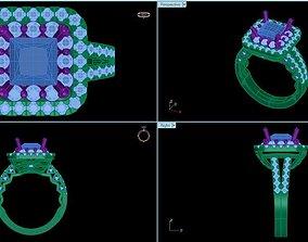 3D print model princess cut diamond engagement rings