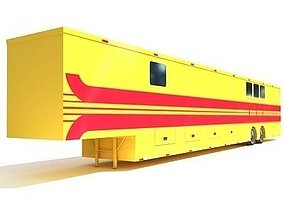 Yellow Red Striped Trailer 03 3D