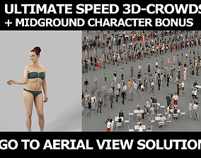 3d crowds and Yearn Midground Swimsuit Beach woman