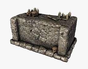 3D model Stone altar with skulls