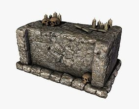 3D model Stone altar with skulls