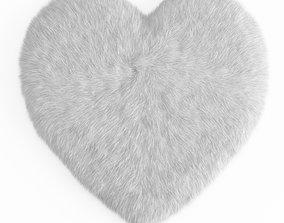 Sheepskin Heart Shaped Carpet Fur 3D model