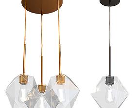 West Elm Sculptural Glass Faceted 3 Light Chandelier 3D