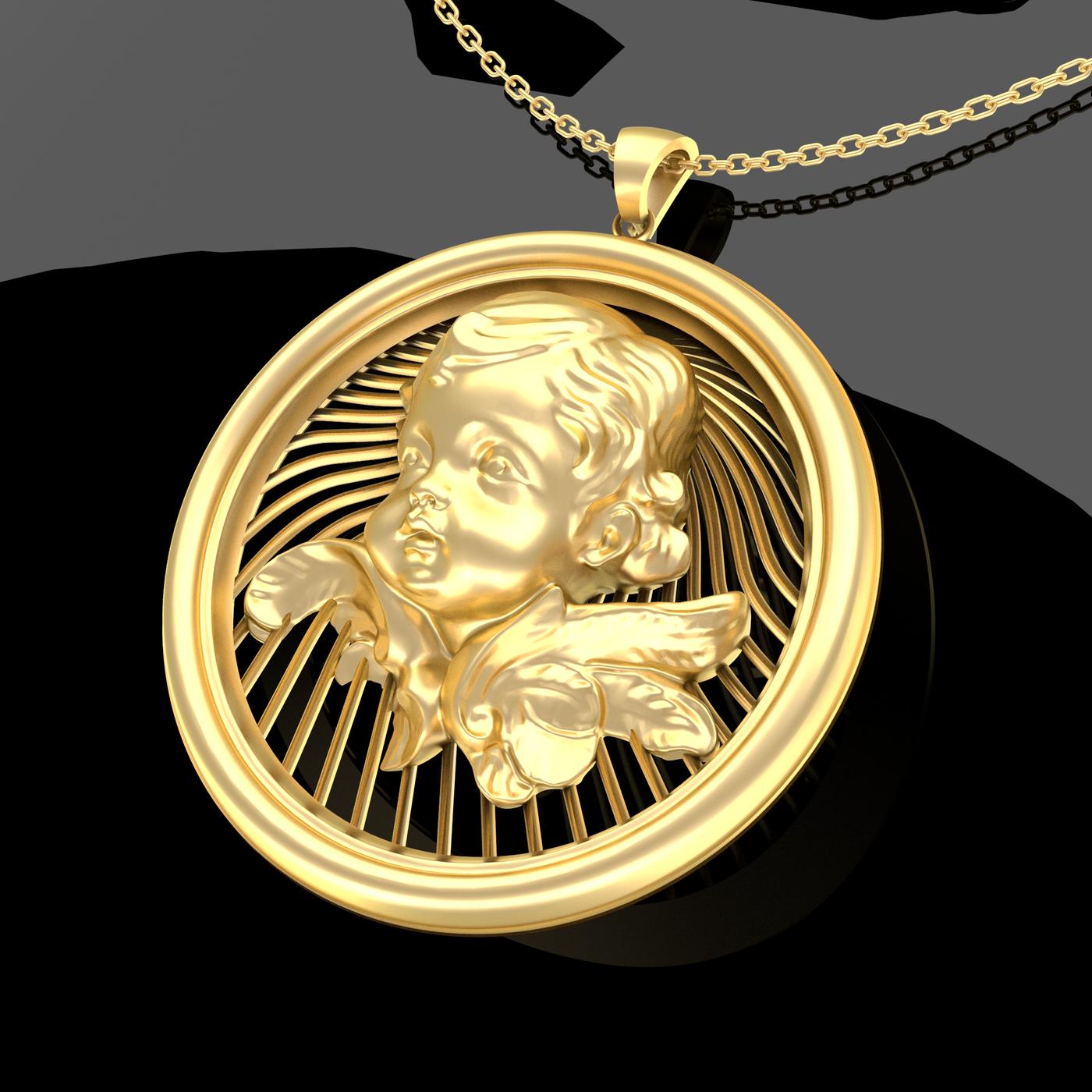 Baby Flower Pendant Jewelry Gold 3D print model