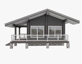 3D European Wood TImber House With Sauna
