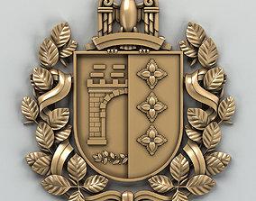 Coat of arms of Chernovitskiy region Ukraine 3D model