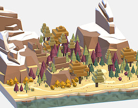 Isometric style autumn big mountain landscape on 3D asset
