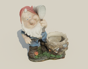 Gnome with flowerpot 3D asset