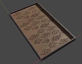 Wood Engravings Oriental Clouds Pattern Panel 3D model