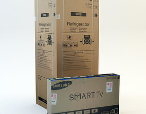 Cardboard Box set 4 3D model