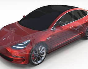 Tesla Model 3 with Chassis Red