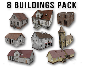 Post apocalyptic 8 Buildings Pack 3D model