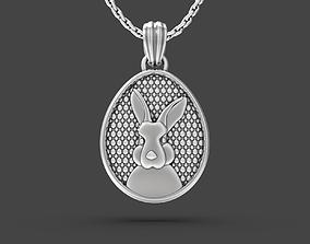 3D printable model Easter egg with Bunny portrait pendant