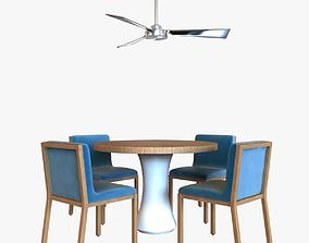 3D model table chair and ceiling fan