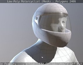 3D asset realtime Lowpoly Motorcyclist - Mesh