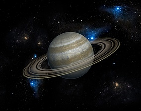 3DMAX model-Saturn in the Milky Way