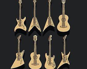 3D printable model Guitar pendants pack