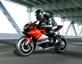 3D asset Ducati panigale 1199 superleggera with rider