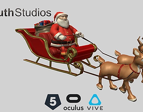 Animated Santa Sleigh 3D model
