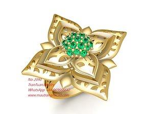 3D printable model 2090 Diamond Flower Ring