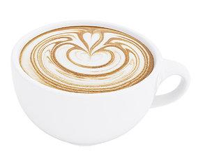 Latte coffee cup Heart 3 3D