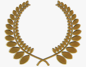 3D Wreath Emblem Gold v 1