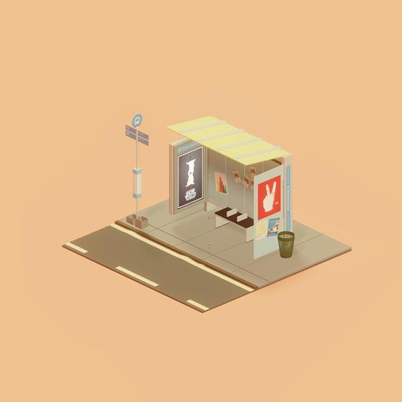Isometric NYC Bus Stop