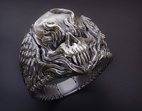 3D print model Winged Fire Skull Ring jewelry