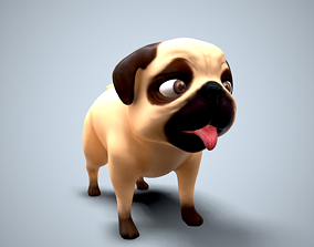 3D model cartoon pug