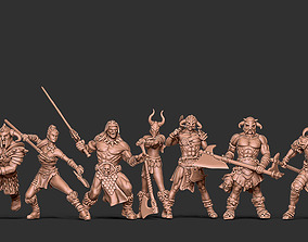 Barbarian bundle - 7 miniatures - 35mm 3D print model