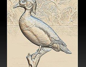 3D printable model Wood Duck - relief - 2019 fauna