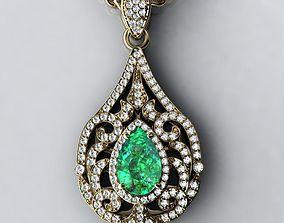 Pear-shape pendant with curl 3D print model