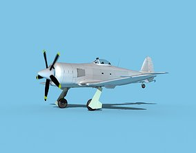3D model Hawker Sea Fury MKII Bare Metal