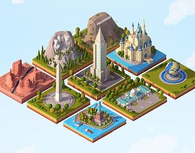 Cartoon Low Poly USA Landmarks Pack 3D asset