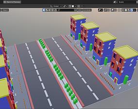 low poly building model 3D asset